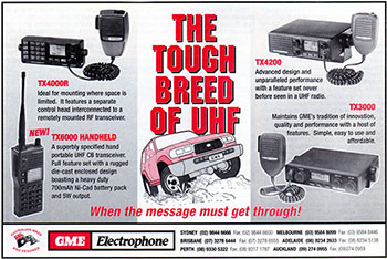 GME UHF Products 1998 copyright GME